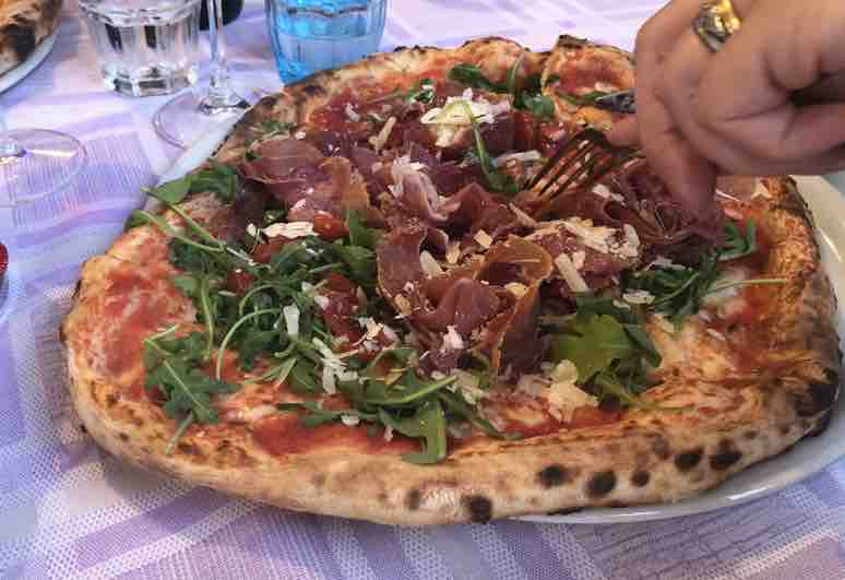 Giant parma ham pizza colombare near Lake Garda