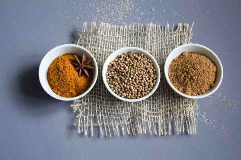 basic curry paste, spices in jars for a base curry sauce