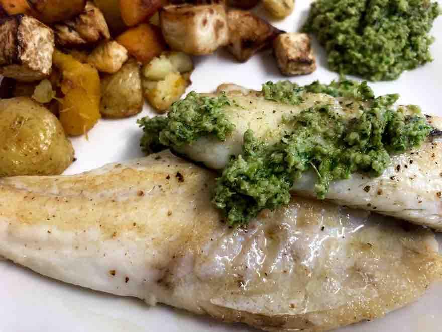 sea bass with pesto