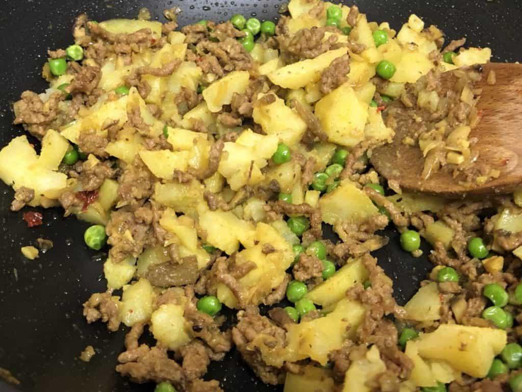 keema mince with potatoes peas